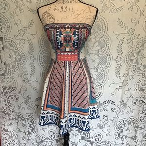Flying Tomato- Strapless Aztec Printed Dress
